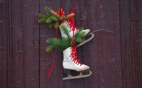 Picture winter, branches, wall, holiday, winter, Board, shoes, Christmas, New year, bows, needles, bumps, laces, skates, …