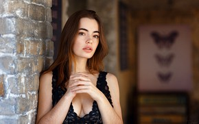 Picture girl, wall, cleavage, brown hair, brown eyes, breast, photo, photographer, bricks, model, lips, face, brunette, …