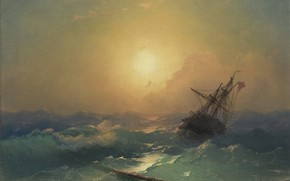 Picture picture, storm, Ivan Aivazovsky, 1865, The ship in Distress, wave, seascape