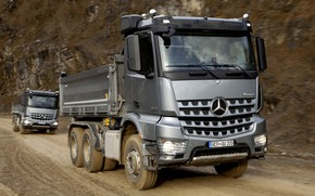 Wallpaper road, Mercedes-Benz, grey, 2013, triaxial, Arocs, trucks
