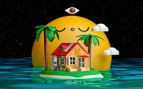 Picture water, house, Palma, round, OASIS X CHOCOTOY