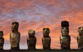 Picture Easter island, statues, Chile, National Park Rapa Nui, , AHU Tongariki, Moai