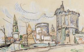 Picture figure, watercolor, 1920, Paul Signac, The Port Of La Rochelle, Paul Signac