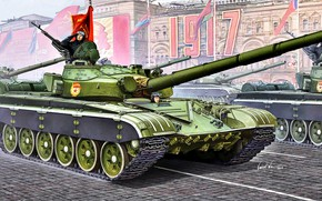 Picture USSR, main battle tank, Red Flag, T-72B, Guard, 12.7 mm NSVT, The cold war