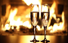 Picture fire, holiday, glasses, fireplace, champagne