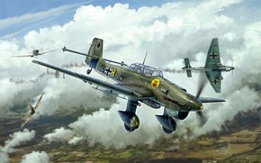 Picture Germany, dive bomber, Junkers, Battle of Britain, the Wehrmacht, Luftwaffe, Attack, Junkers Ju 87, Gianluca …