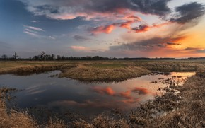 Picture autumn, the sky, water, sunset, river, Robert Kropacz