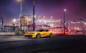 Picture Auto, Port, Night, Yellow, Machine, Ferrari, Car, Car, Render, Supercar, Rendering, Sports car, Terminal, Yellow, …