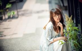 Wallpaper girl, street, Asian