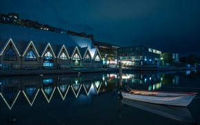 Picture lights, boat, the evening, Sweden, Gothenburg