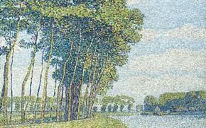 Picture landscape, picture, pointillism, Paul Baum, Trees by the Canal, Paul Baum