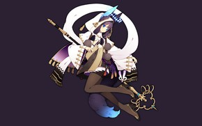 Picture girl, fantasy, minimalism, staff, ears, the dark background