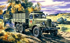 Picture USSR, Zavod imeni Likhacheva, Truck, Armed Forces, ZIL-157, Terrain