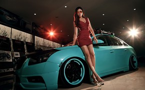 Picture auto, look, Girls, Asian, beautiful girl, posing on the car, Dong fei