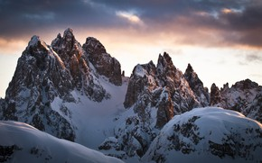 Picture winter, the sky, clouds, snow, mountains, nature, rocks, The Dolomites