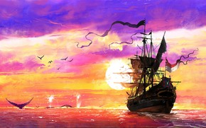 Picture Sunset, The ocean, Sea, Ship, Kit, Whales, Concept Art, Dominik Mayer, Environments, The Whaler, Storytelling, …