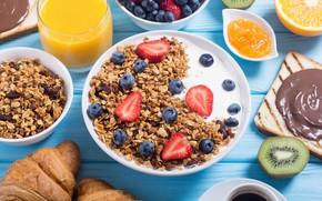 Wallpaper berries, coffee, food, Breakfast, juice, yogurt, orange, granola