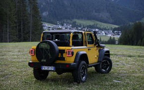 Picture yellow, SUV, rear view, 4x4, Jeep, Mopar, 2019, Wrangler Rubicon 1941