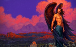 Picture the sky, nature, wings, angel, guy, black wings