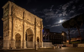 Picture night, Rome, Colosseum, Italy, The arch of Constantine