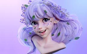 Picture smile, fantasy, art, girl, freckles, children's, Сиреневый девочка, ШИН МИН ЧЖОН