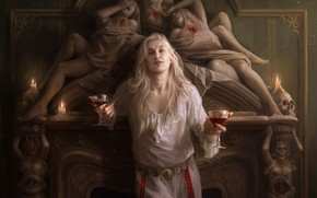 Picture pose, woman, skull, fireplace, Spellbinding terror