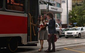 Picture girl, the city, meeting, tram, guy