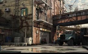 Picture transport, yard, puddles, car, Truck Crane KrAZ