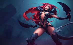 Picture girl, stand, League of Legends, Katarina, red hair, League Of Legends