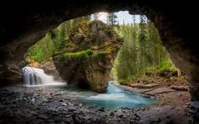 Picture forest, mountains, river, cave