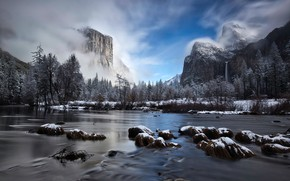 Picture winter, forest, the sky, clouds, snow, trees, mountains, fog, river, rocks, waterfall, CA, USA, Yosemite, …