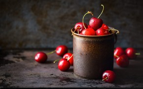 Picture drops, cherry, berries, the dark background, table, wall, mug, red, placer, cherry, metal, bokeh, composition, …