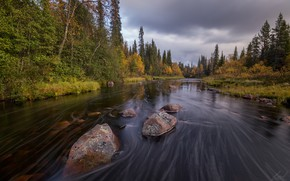 Picture autumn, landscape, nature, stream, stones, forest, Bank, Murmansk oblast
