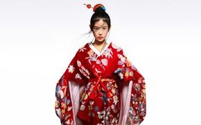 Picture Girl, Asian, Kimono, Chinese, Asian girl, Kimono, Character, Patricia Artflow, Red kimono, by Patricia Artflow