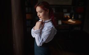 Picture girl, pose, portrait, hands, blouse, red, redhead, Sergey Fat, Sergey Zhirnov, Alexander Gruberova