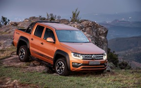 Picture mountain, Volkswagen, pickup, Amarok, the ledge, Canyon, 2019
