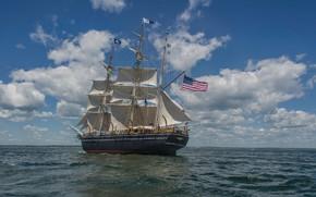 Picture Flag, Sailboat, Sails, Mast, A whaling ship, CHARLES W. MORGAN