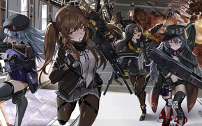 Picture weapons, girls, smoke, explosions, run, Girls Frontline, Girls front