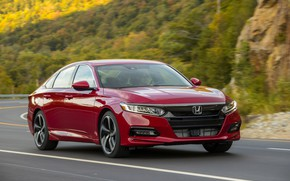 Picture road, red, movement, Honda, Accord, sedan, 2018, four-door, 2.0T Sport