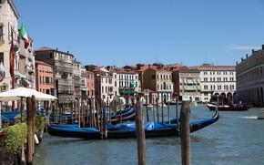Picture boat, home, Italy, Venice, channel, gondola, причальная опора