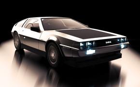 Picture Auto, Retro, Machine, DeLorean DMC-12, Car, DeLorean, DMC-12, Rendering, The front, Transport & Vehicles, by …