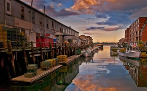 Picture boat, home, Portland, channel, USA, Maine