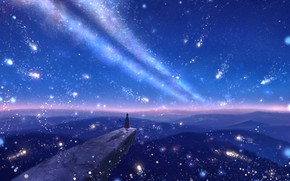 Picture the sky, girl, night, fantasy, staff, the ledge