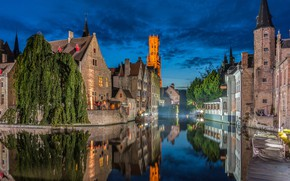 Picture trees, the city, reflection, building, tower, home, the evening, lighting, channel, Belgium, Bruges
