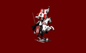 Picture Minimalism, Horse, Armor, Sword, Horse, Knight, Illustration, Knight, Minimalism, Rider, Sword, Armor, Horse, Banner, The …
