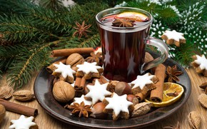 Picture tea, tree, New year, nuts, cinnamon, cakes