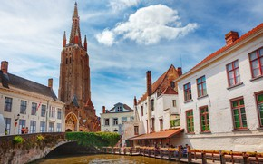 Picture bridge, home, channel, Belgium, Bruges, Church of Our Lady