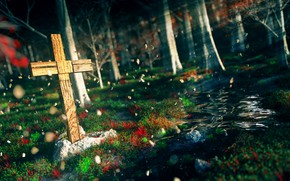 Picture nature, stream, cross, by K&P