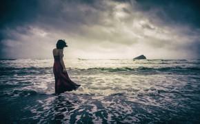 Picture GIRL, SEA, HORIZON, The OCEAN, DRESS, WAVE, DAL