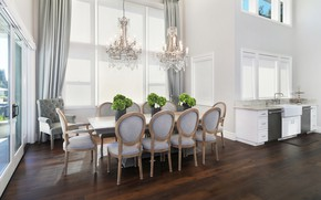 Picture design, table, furniture, chandelier, mansion, living room
